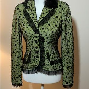 Teri Jon green with lace overlay Jacket